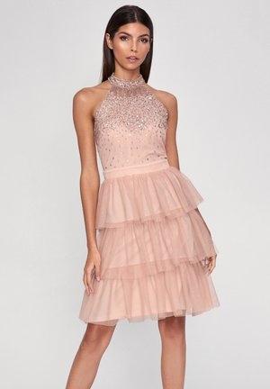HALTER NECK HAND EMBELLISHED RUFFLE DRESS - Cocktail dress / Party dress - pink