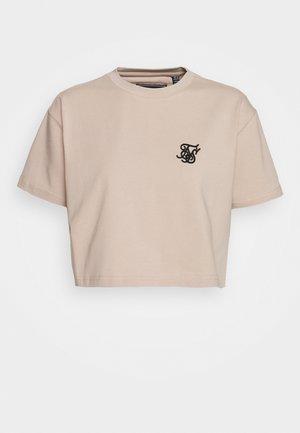 RETRO BOX FIT CROP TEE - Print T-shirt - beige