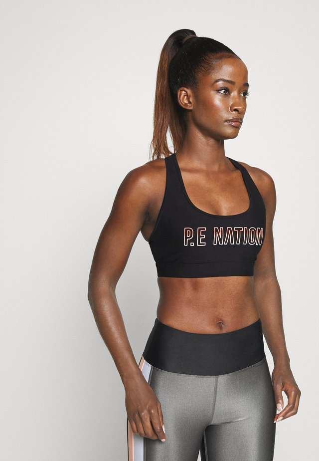 BASELINE SPORTS BRA - Medium support sports bra - black/coral