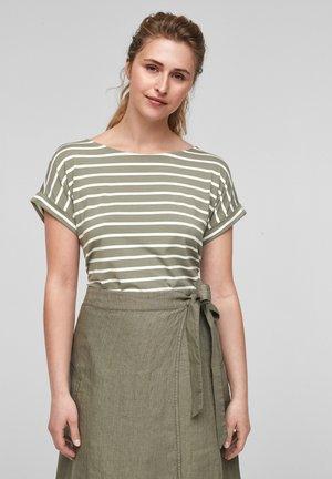 Print T-shirt - summer khaki stripes