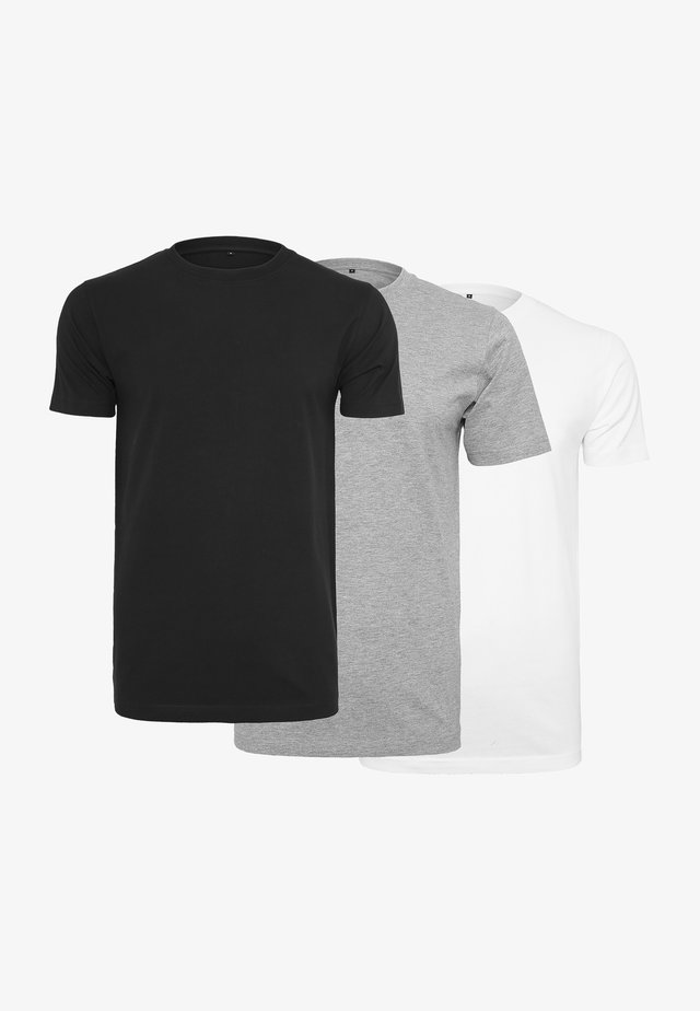 3 PACK - T-shirt basic - black grey white