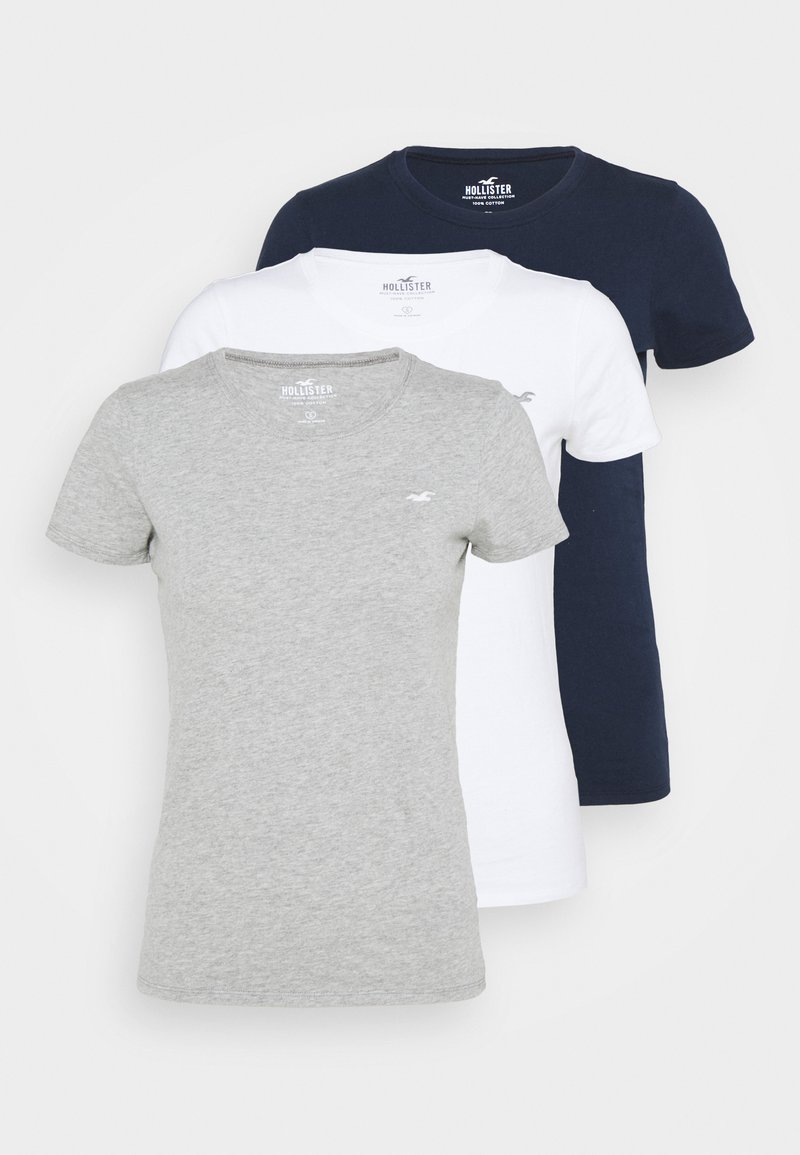 Hollister Co. - SLIM CREW 3 PACK - Triko s potiskem - white/grey/navy