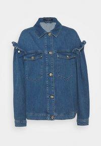 JACKET WITH PEARL SLEEVE - Denim jacket - blue denim