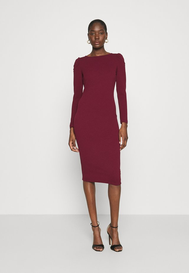 RUCHED SLEEVE BODYCON DRESS - Tubino - purple