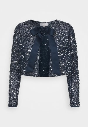 DELICATE SEQUIN JACKET WITH BOW - Chaqueta de punto - navy