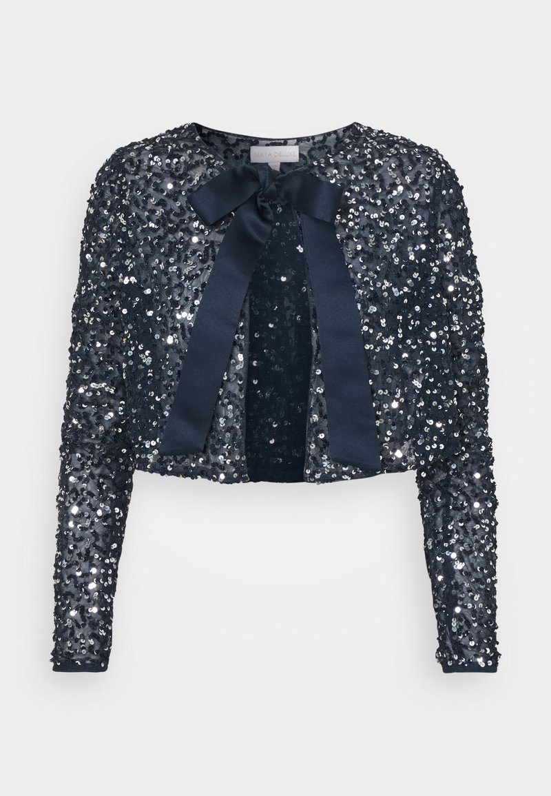 Maya Deluxe - DELICATE SEQUIN JACKET WITH BOW - Cardigan - navy