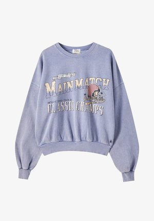 KONTRAST-SLOGAN - Sweatshirts - mottled blue