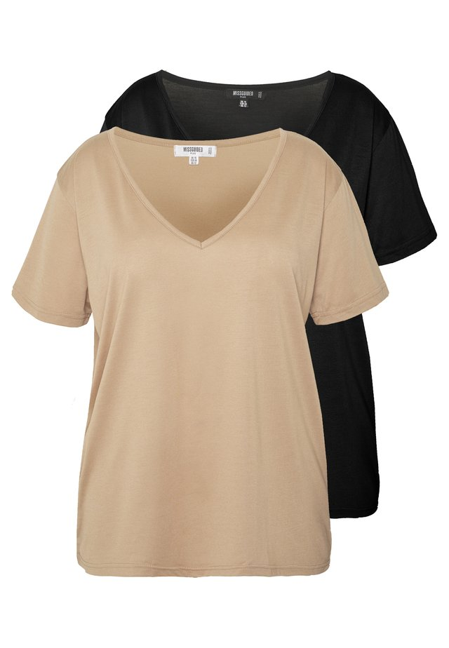 CURVE V NECK 2 PACK - T-shirt imprimé - black/camel