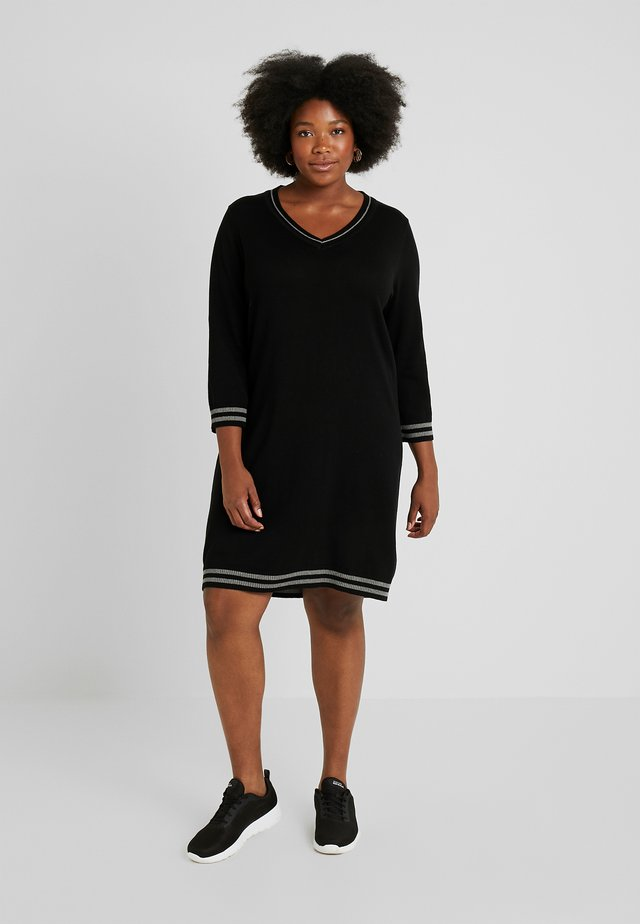 DRESS V-NECK 3/4 SLEEVES - Neulemekko - black