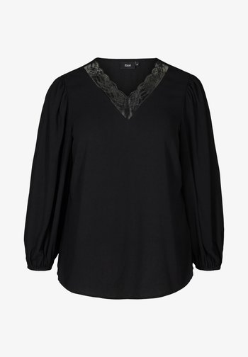 WITH A V-NECK AND LACE TRIM