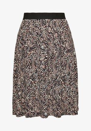 A-line skirt - black minimal aop