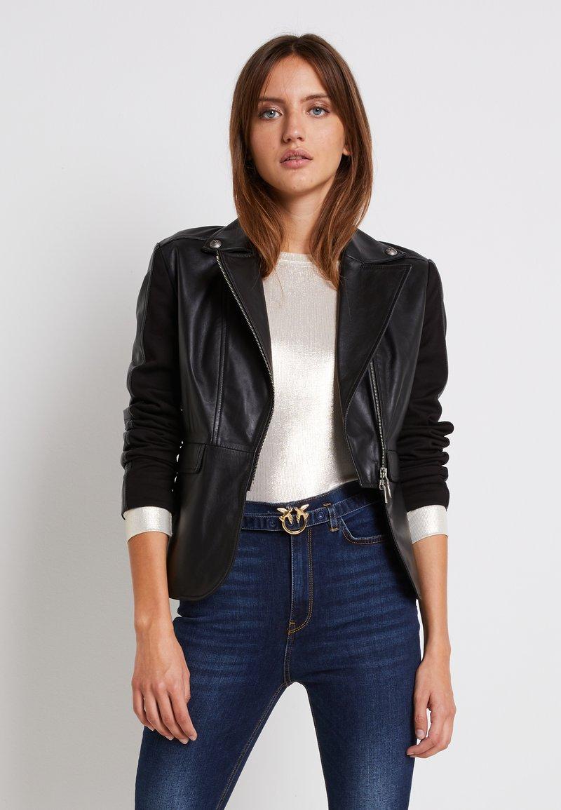 Pinko - FRANCO JACKET - Leather jacket - black