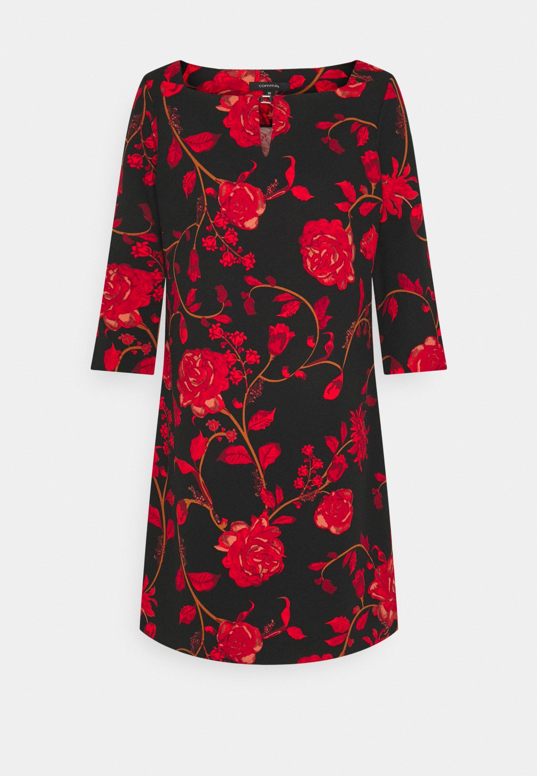 kleid kurz - freizeitkleid - black red