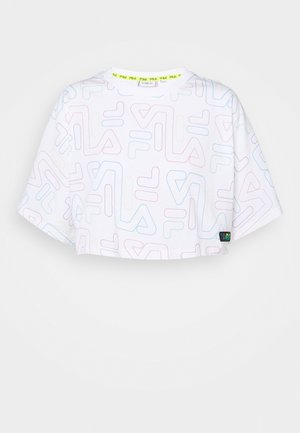 SUSAN WIDE CROPPED TEE - Print T-shirt - bright white