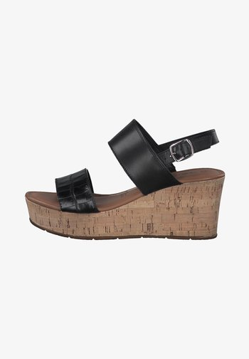 Wedge sandals - black/black structure