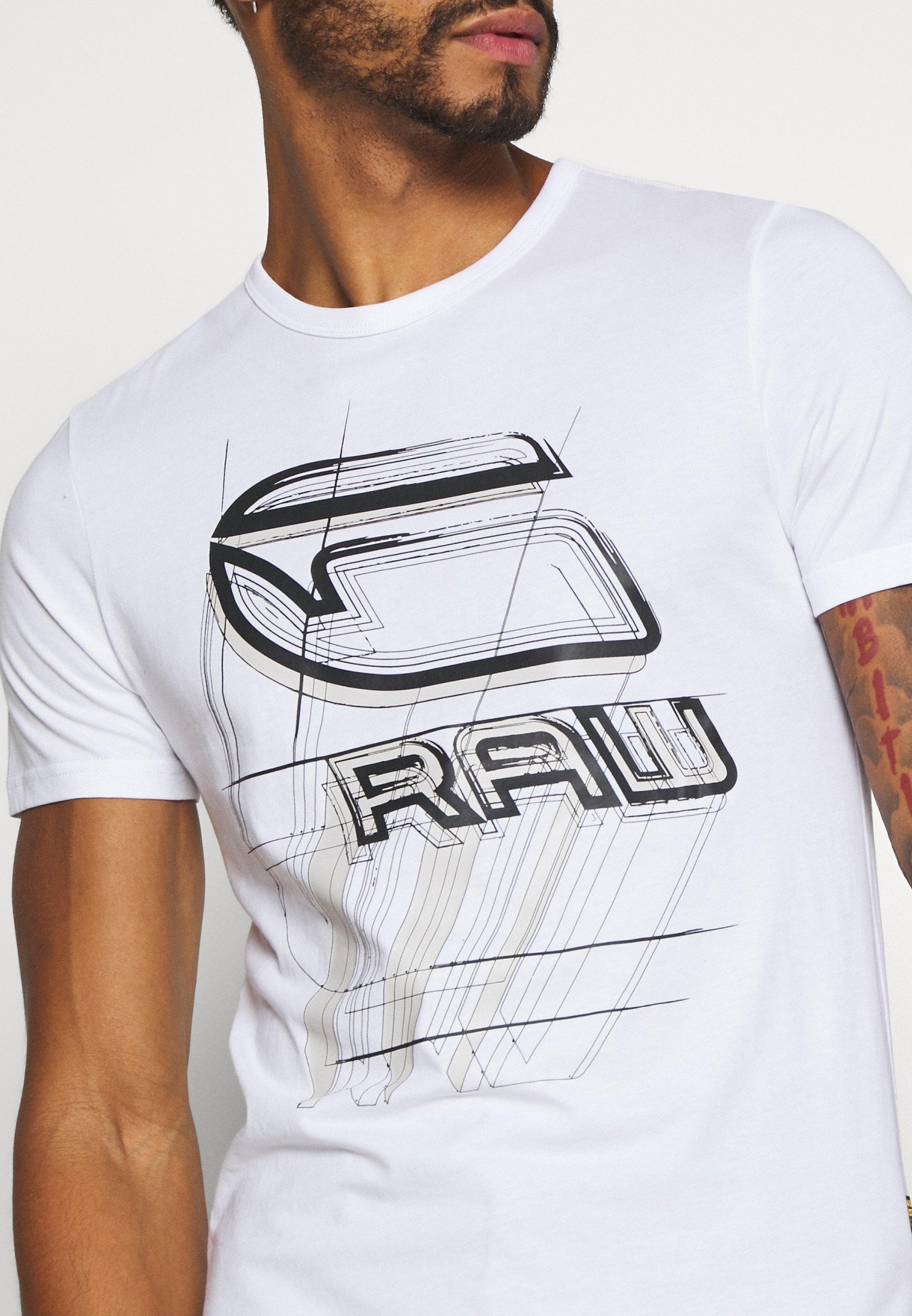 G-Star PERSPECTIVE LOGO GR SLIM - Print T-shirt - white dvTtm