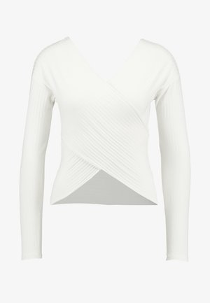 CRISS CROSS SHOULDER - Long sleeved top - white