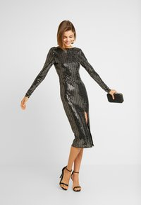 Missguided - SEQUIN OPEN BACK BODYCON MIDI DRESS - Cocktail dress / Party dress - black - 2