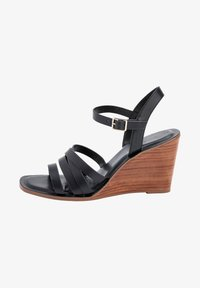 Next - TAN STRAPPY WOOD HEEL WEDGES - High heeled sandals - black - 1