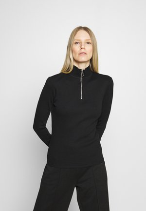 LONGSLEEVE WITH ZIPPER SPECIAL COLLAR - Long sleeved top - black