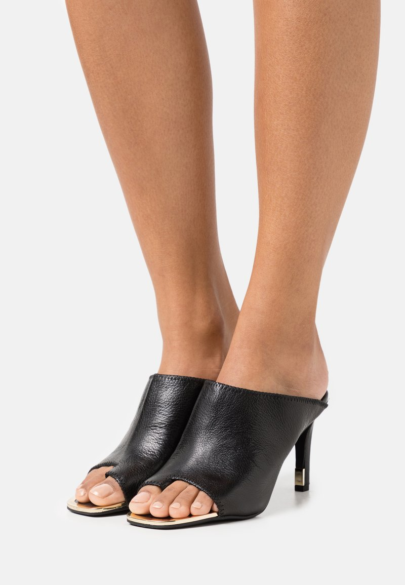 DKNY - BASHA PEEP TOE MULE - T-bar sandals - black