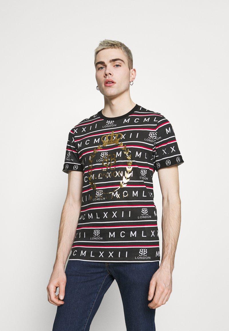 Brave Soul - ROW - Print T-shirt - jet black/red/white/gold