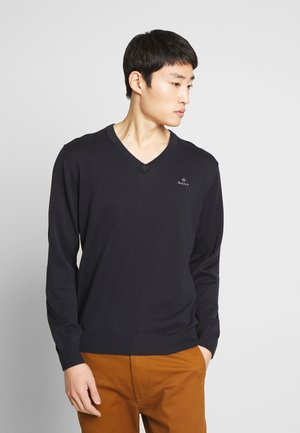 CLASSIC COTTON V-NECK - Jumper - evening blue