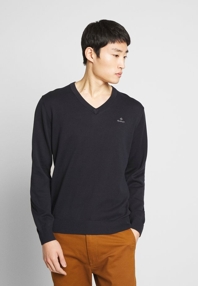 CLASSIC COTTON V-NECK - Pullover - evening blue