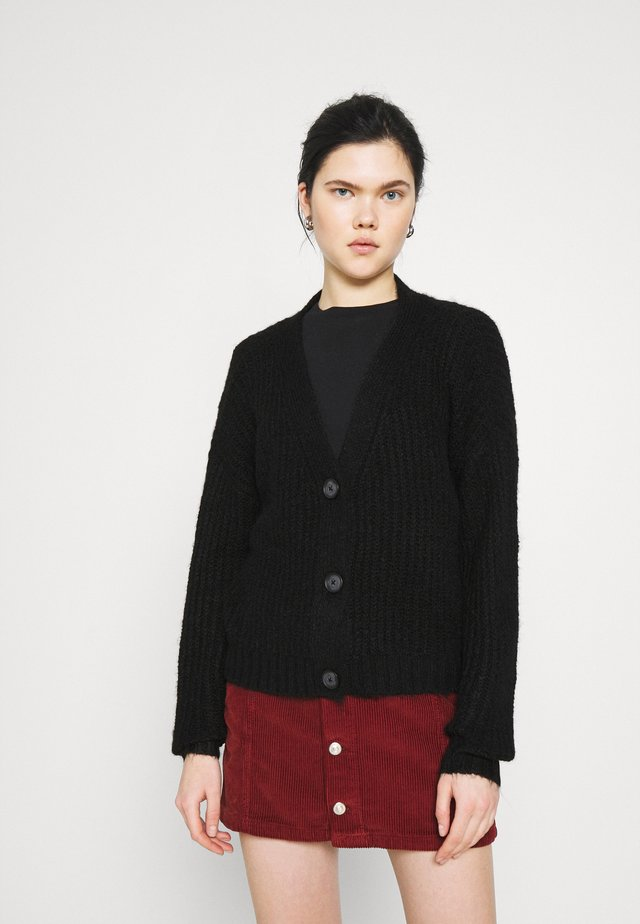 CROPPED CHUNKY CARDIGAN - Vest - black