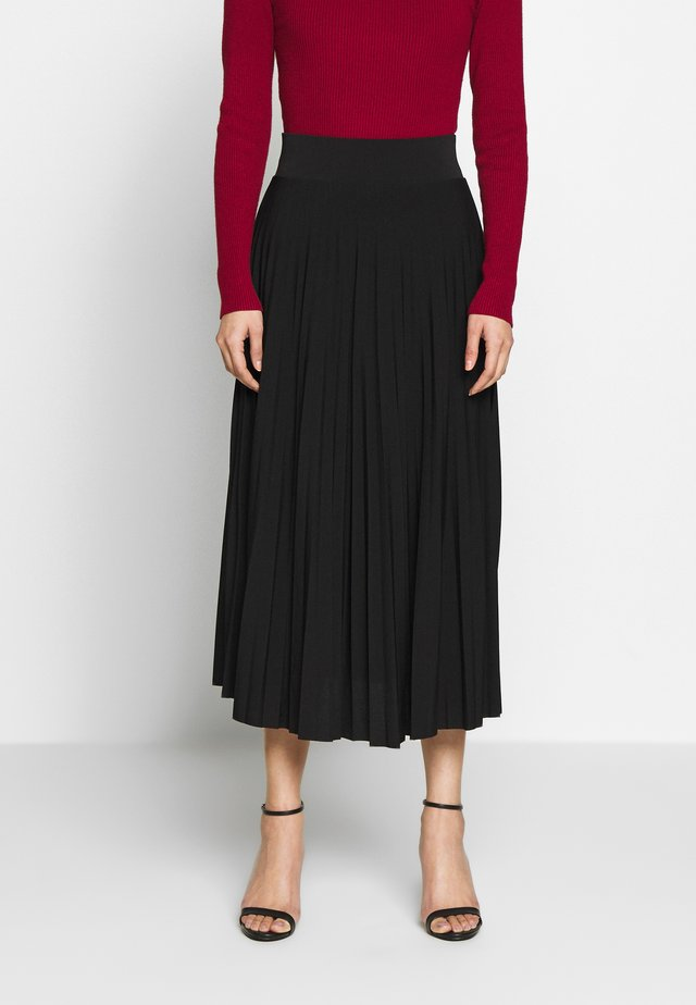 Plisse A-line midi skirt - A-lijn rok - black