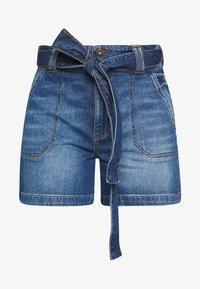 WIDE SHORT - Denim shorts - blue dark wash