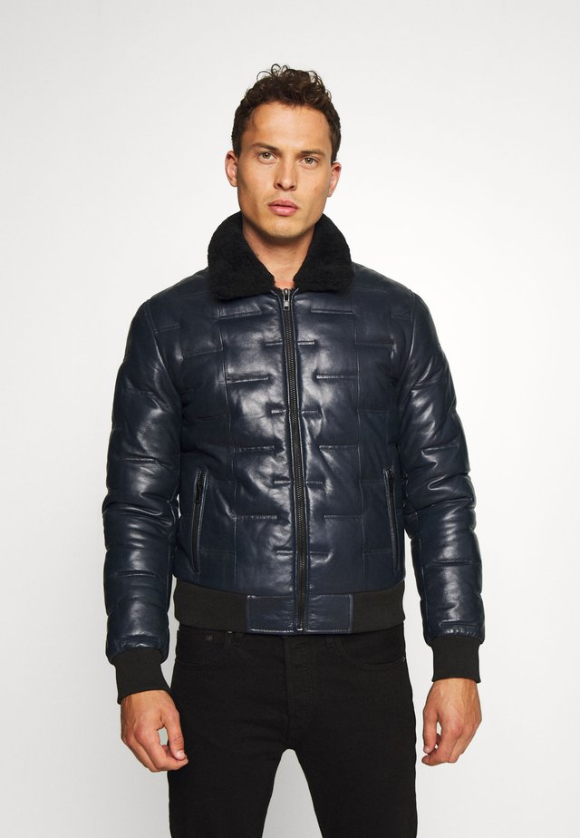 TAYLOR - Leather jacket - navy