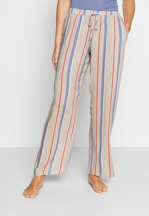 SLEEP & LOUNGE HOSE LANG - Pyjama bottoms - beige/blue
