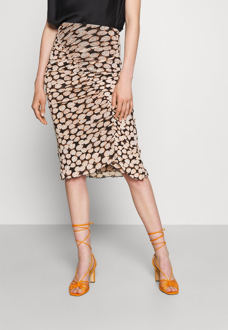 Diane von Furstenberg - CHRISTY SKIRT - Pencil skirt - leaf twig medium black