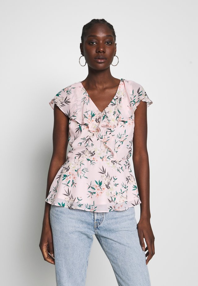 FLORAL FRONT SHORT SLEEVE - Camicetta - blush