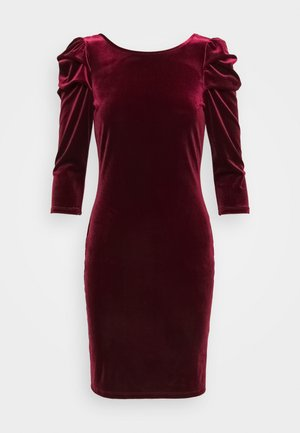 PUFF SLEEVES VELVET DRESS - Shift dress - wine