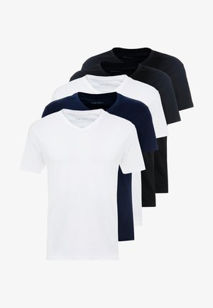 5 PACK - Jednoduché triko - white/blue/black