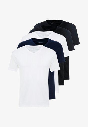 5 PACK - T-shirt - bas - white/blue/black