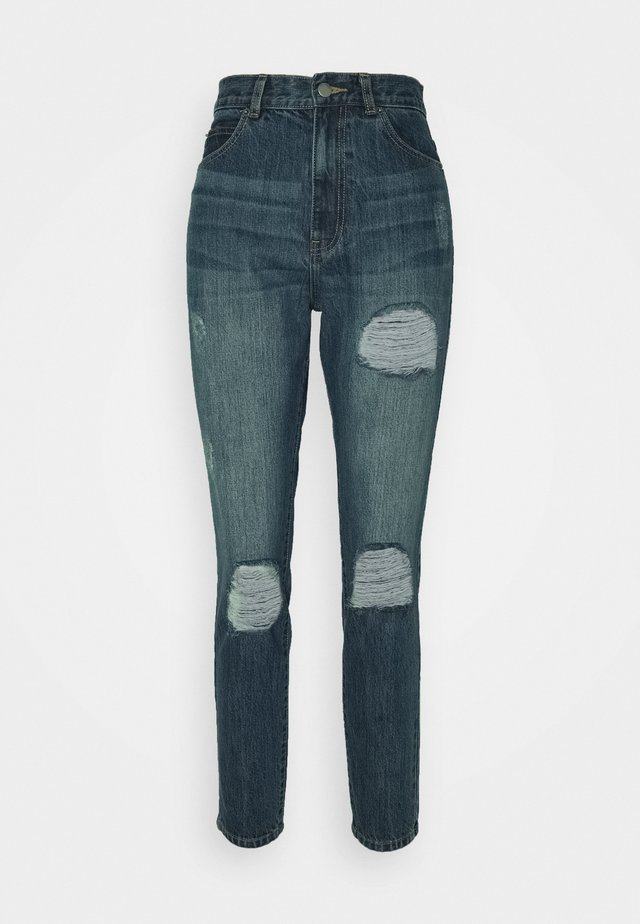 NORA - Slim fit jeans - mid blue ripped