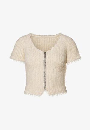 ZIP EYELASH TOP - T-shirts med print - cream
