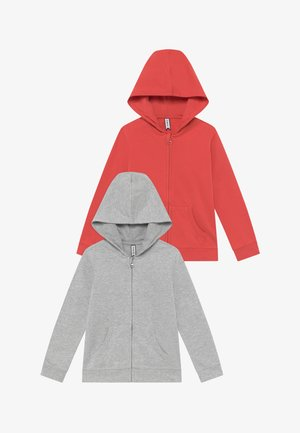 2 PACK - Zip-up hoodie - spiced coral/light grey