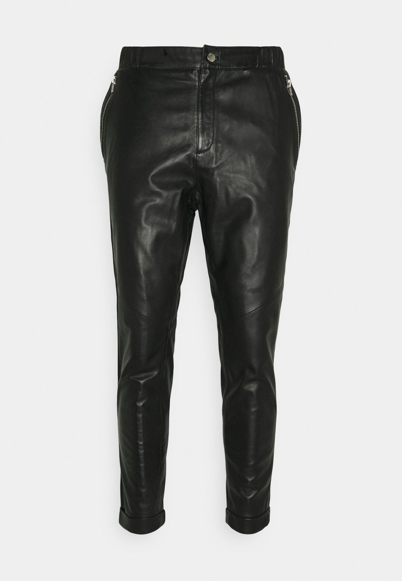 Tigha - ALEKO CROPPED  - Leather trousers - black