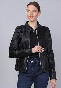 Basics and More - Leather jacket - black - 4