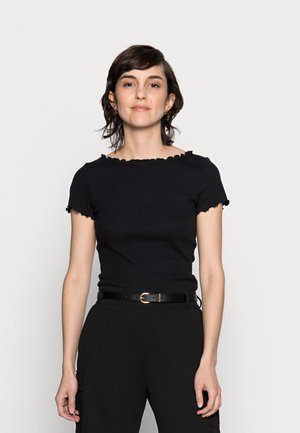 SHORT SLEEVE BOATNECK TOP - Camiseta estampada - black