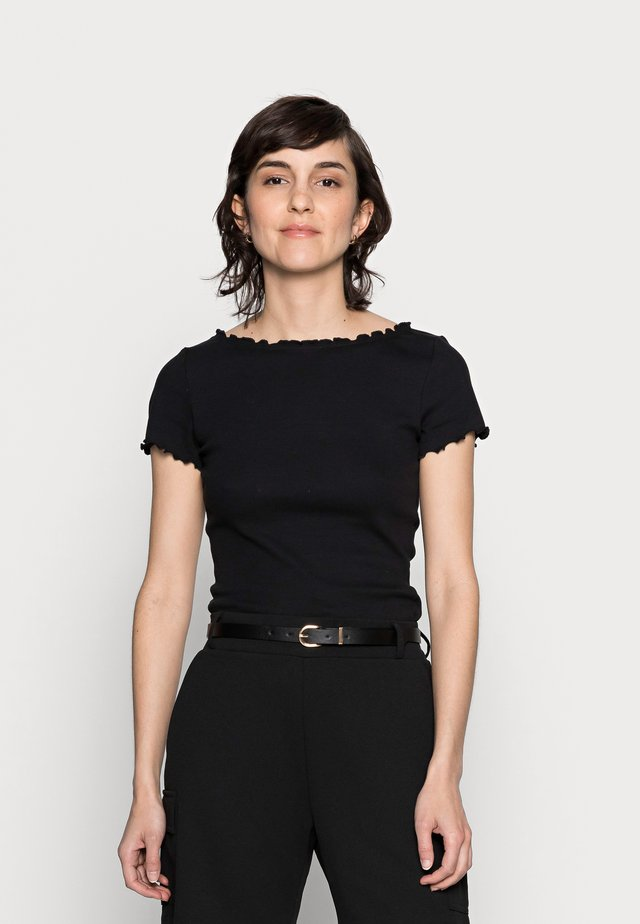 SHORT SLEEVE BOATNECK TOP - T-shirt con stampa - black