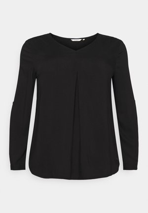 BLOUSE WITH PLEAT - Blouse - deep black