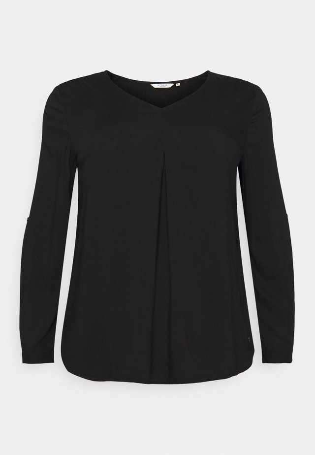 BLOUSE WITH PLEAT - Bluser - deep black