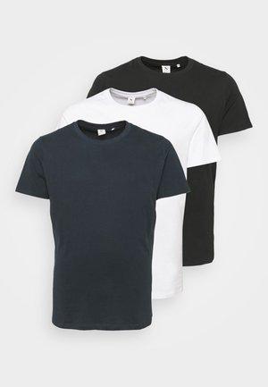 3 PACK - Jednoduché triko - black/white/navy