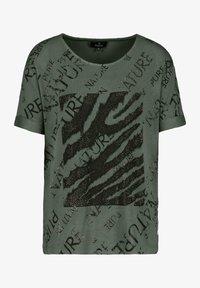 Monari - MIT RUNDHALS UND ALLOVER-PRINT - Print T-shirt - pinie gemustert - 1