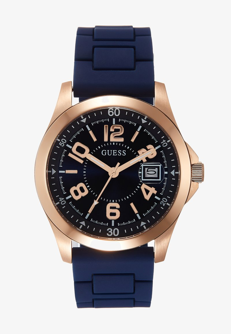Guess - UNISEX SPORT DATE - Hodinky - blue/rose gold-coloured